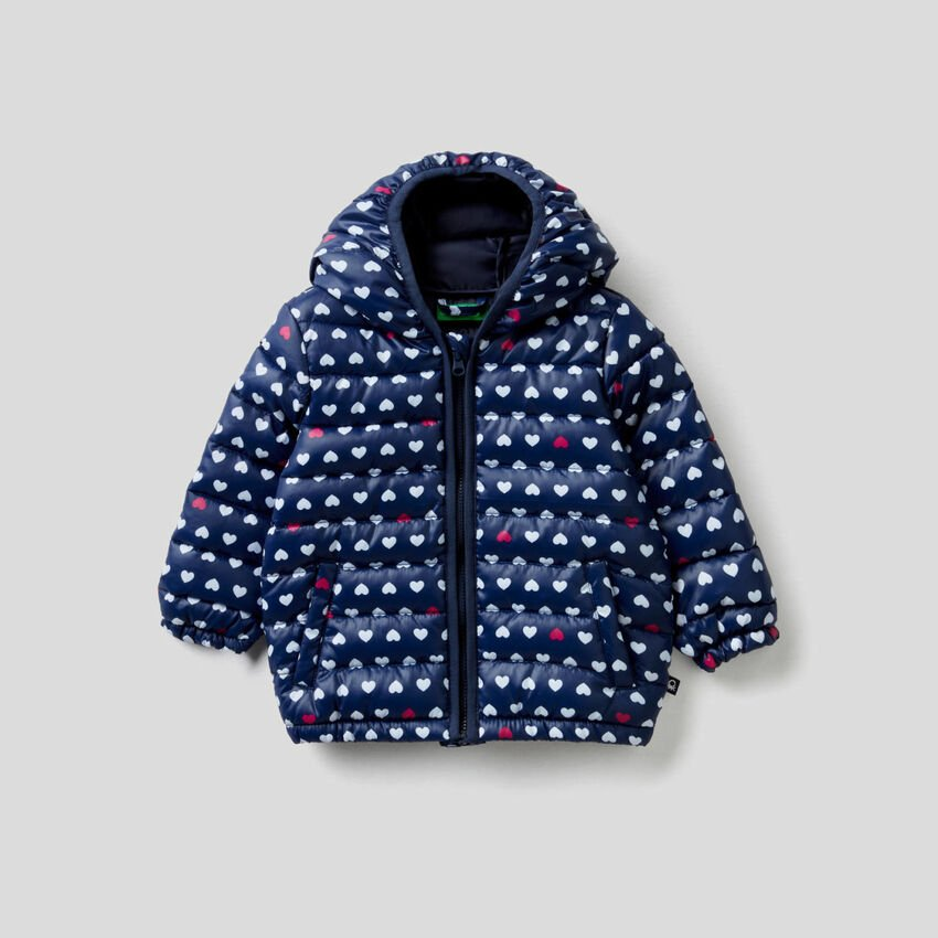Jacket with allover pattern hood