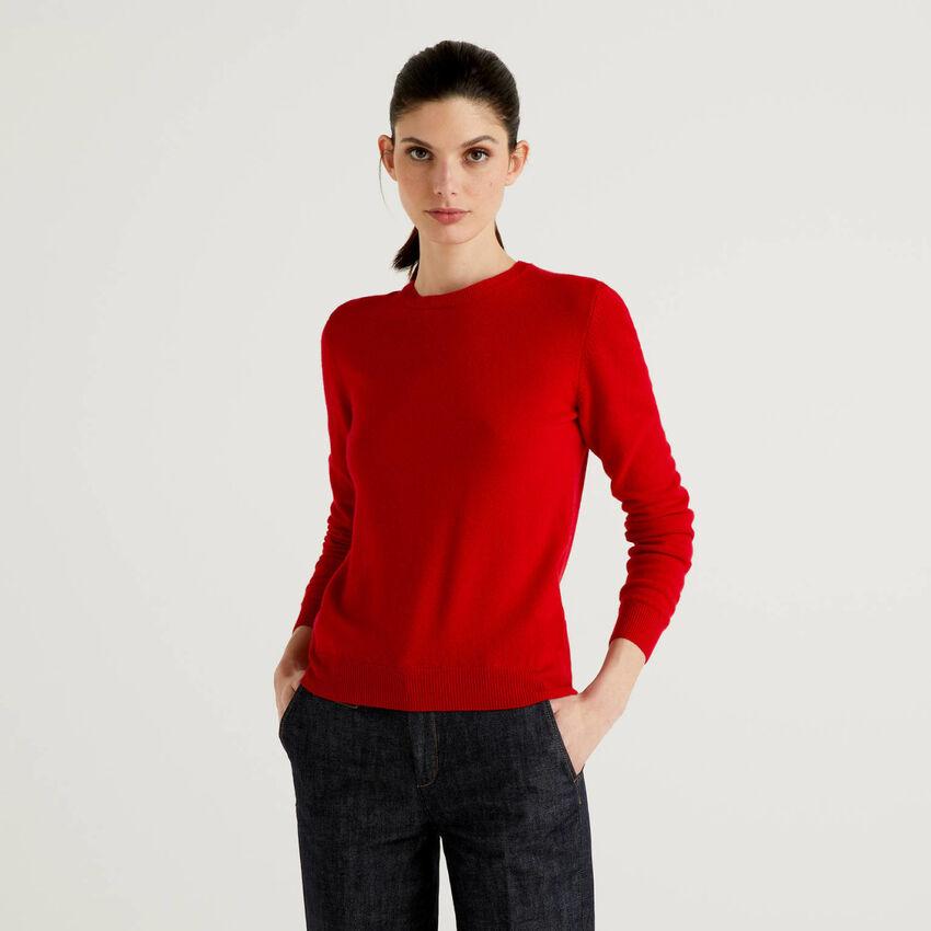Crew neck sweater in pure virgin wool