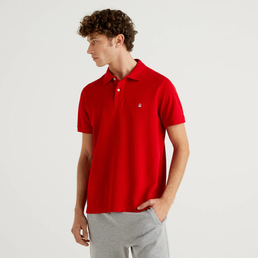 Regular fit red polo