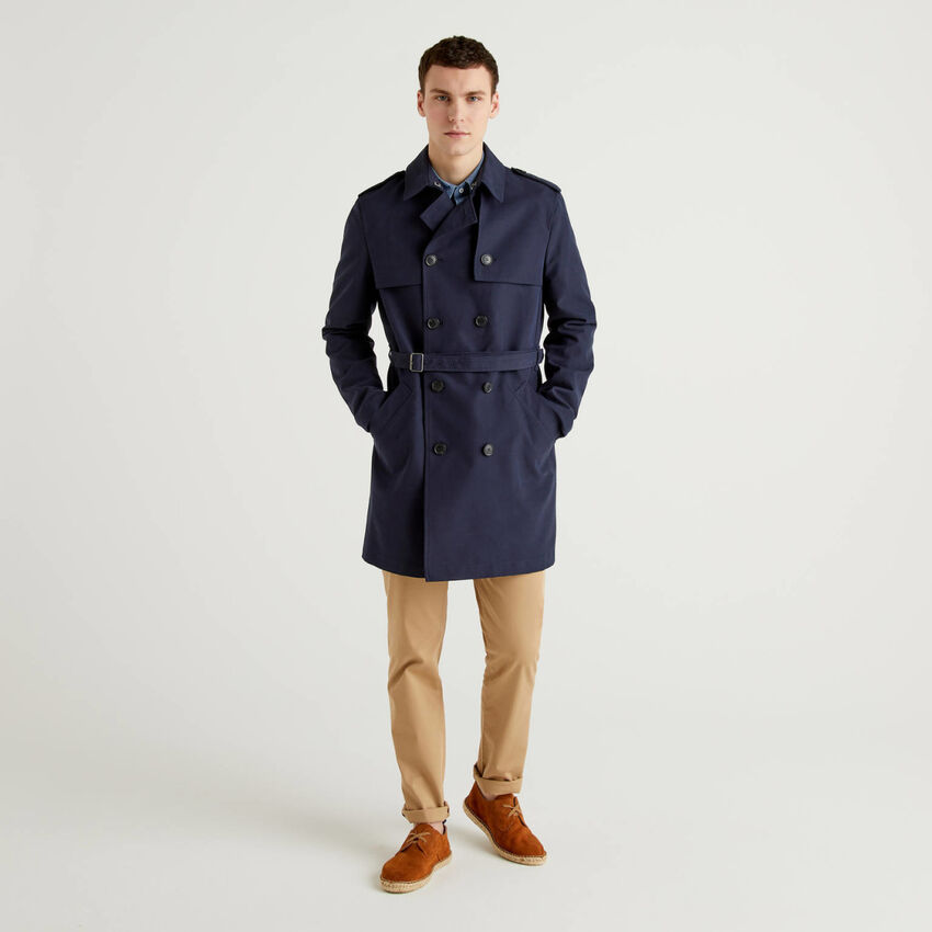 Dark blue lined trench coat