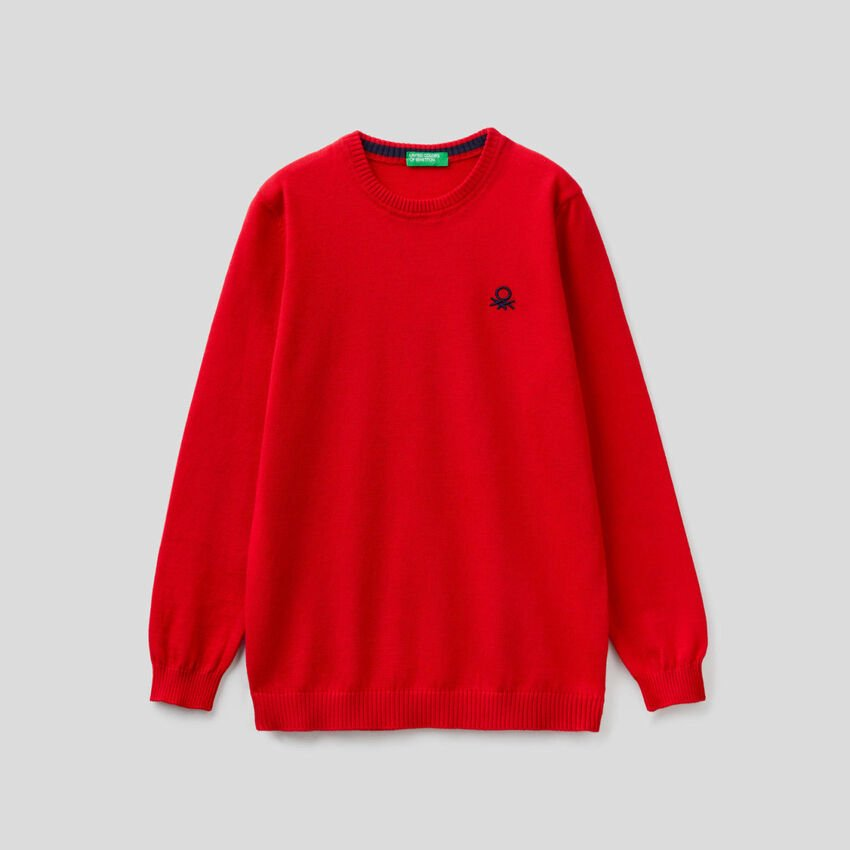 Pure cotton sweater with logo