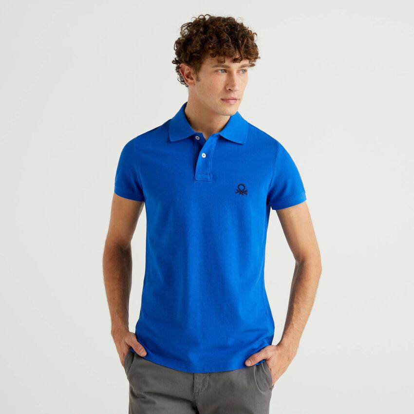 Cornflower blue slim fit polo