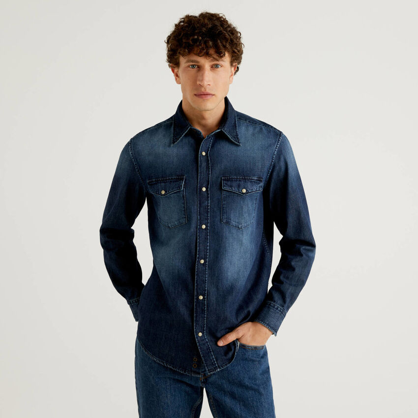 Denim shirt in pure cotton