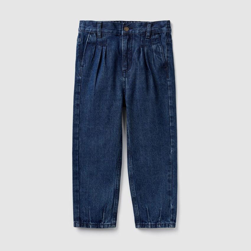 High-waisted denim trousers