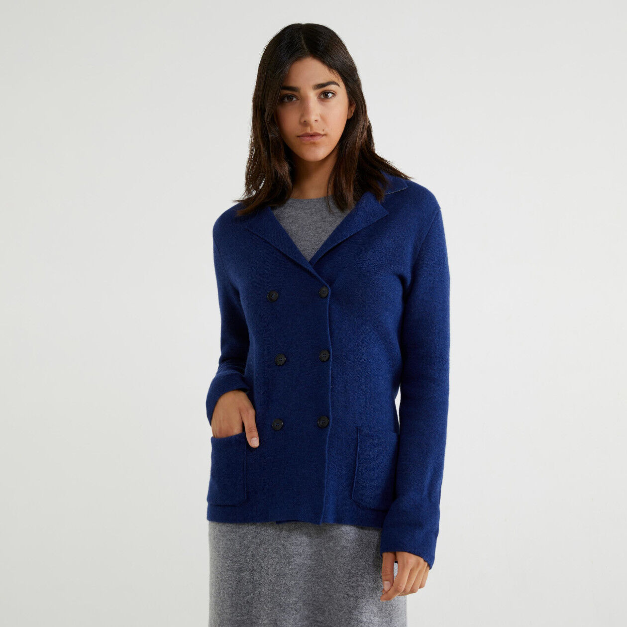 Double-breasted knit jacket