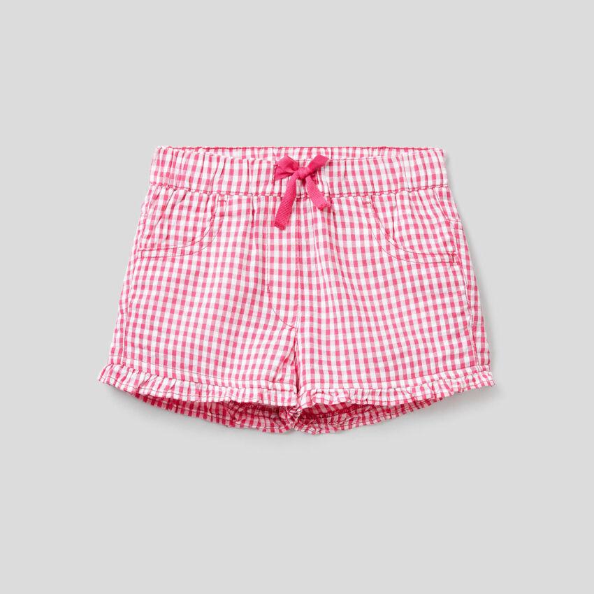 Fuchsia Vichy pattern shorts