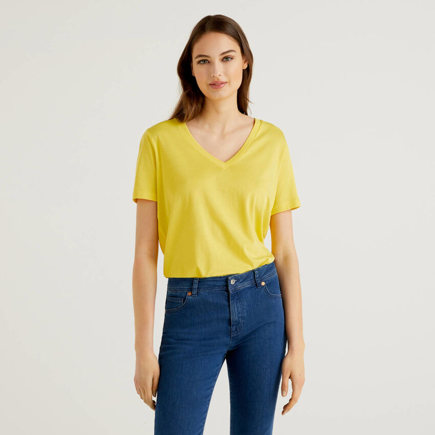 T-shirt with back in viscose