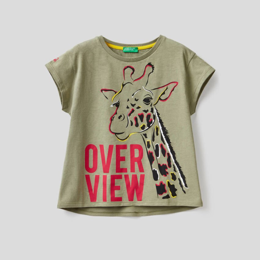 Military green t-shirt with giraffe print