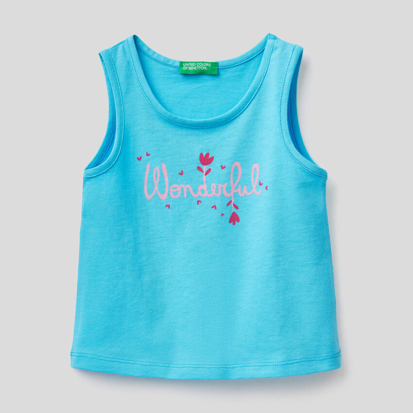 100% cotton tank top with print