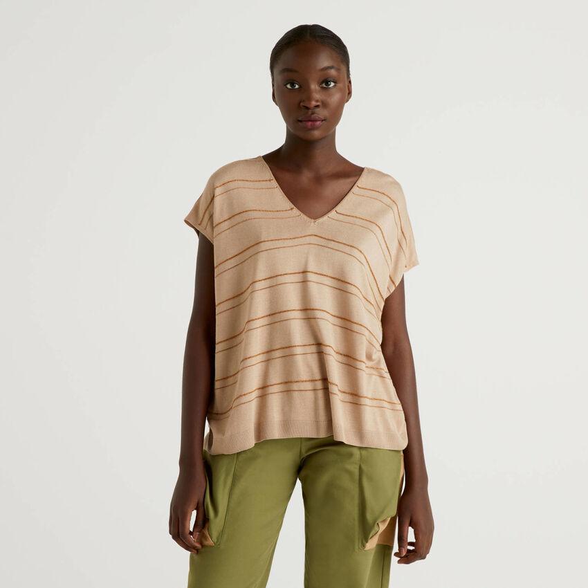Short sleeve sweater in silk blend