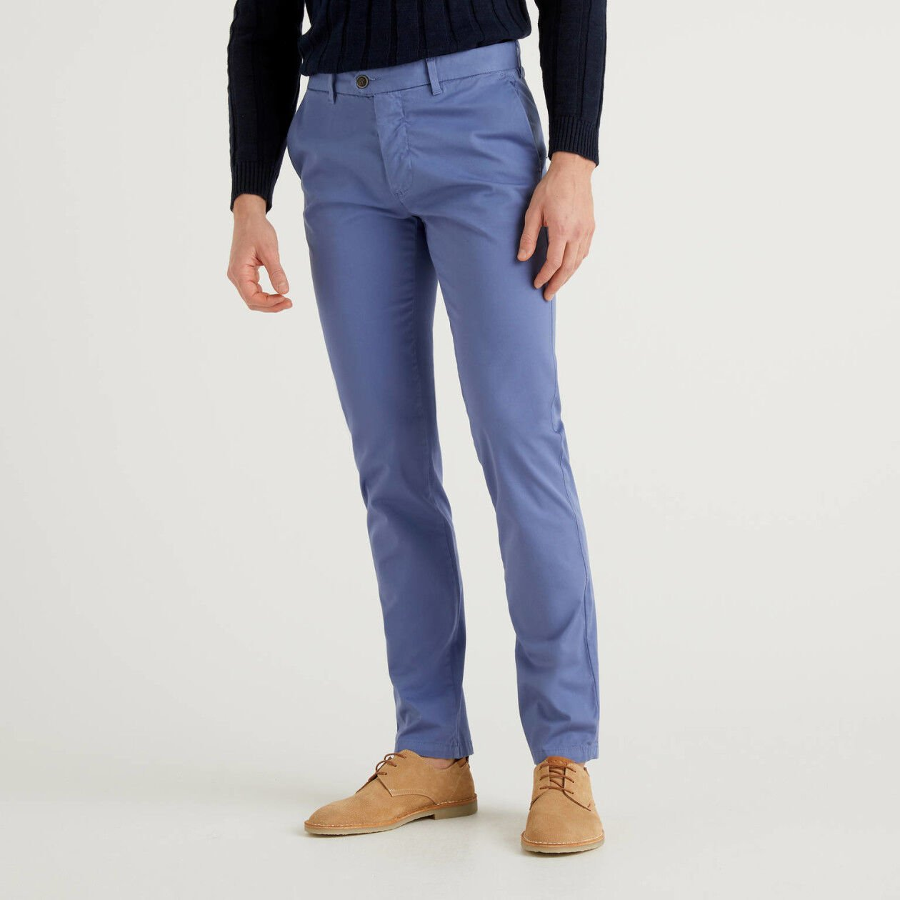 Air force blue slim fit stretch chinos