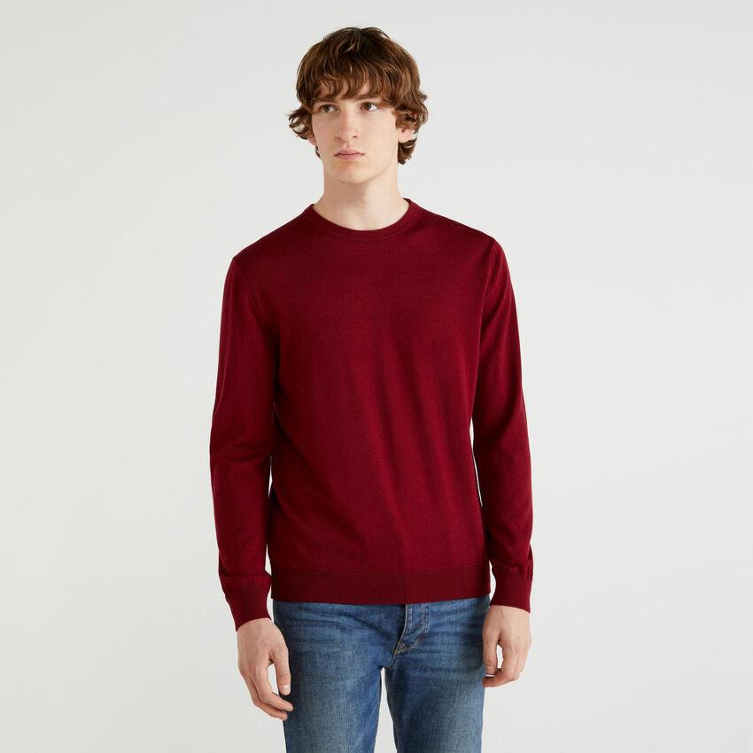 Crew neck sweater in Extra Fine pure Merino wool