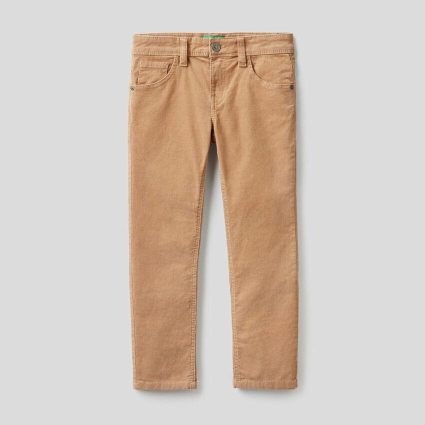Slim fit stretch velvet trousers