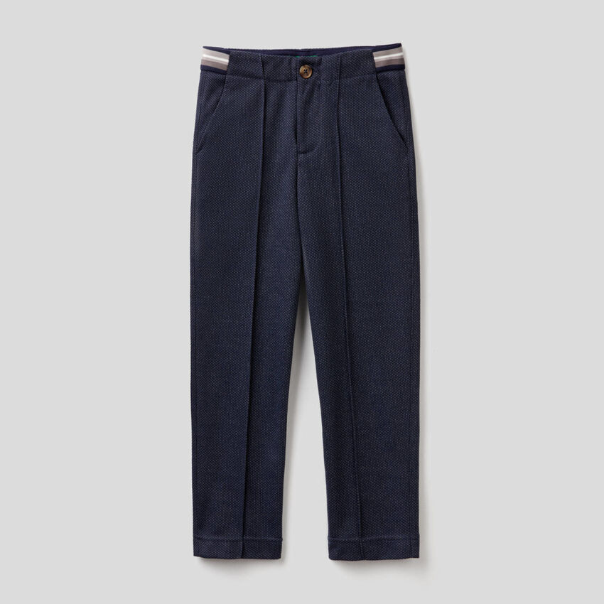 Slim fit chinos with micro pattern