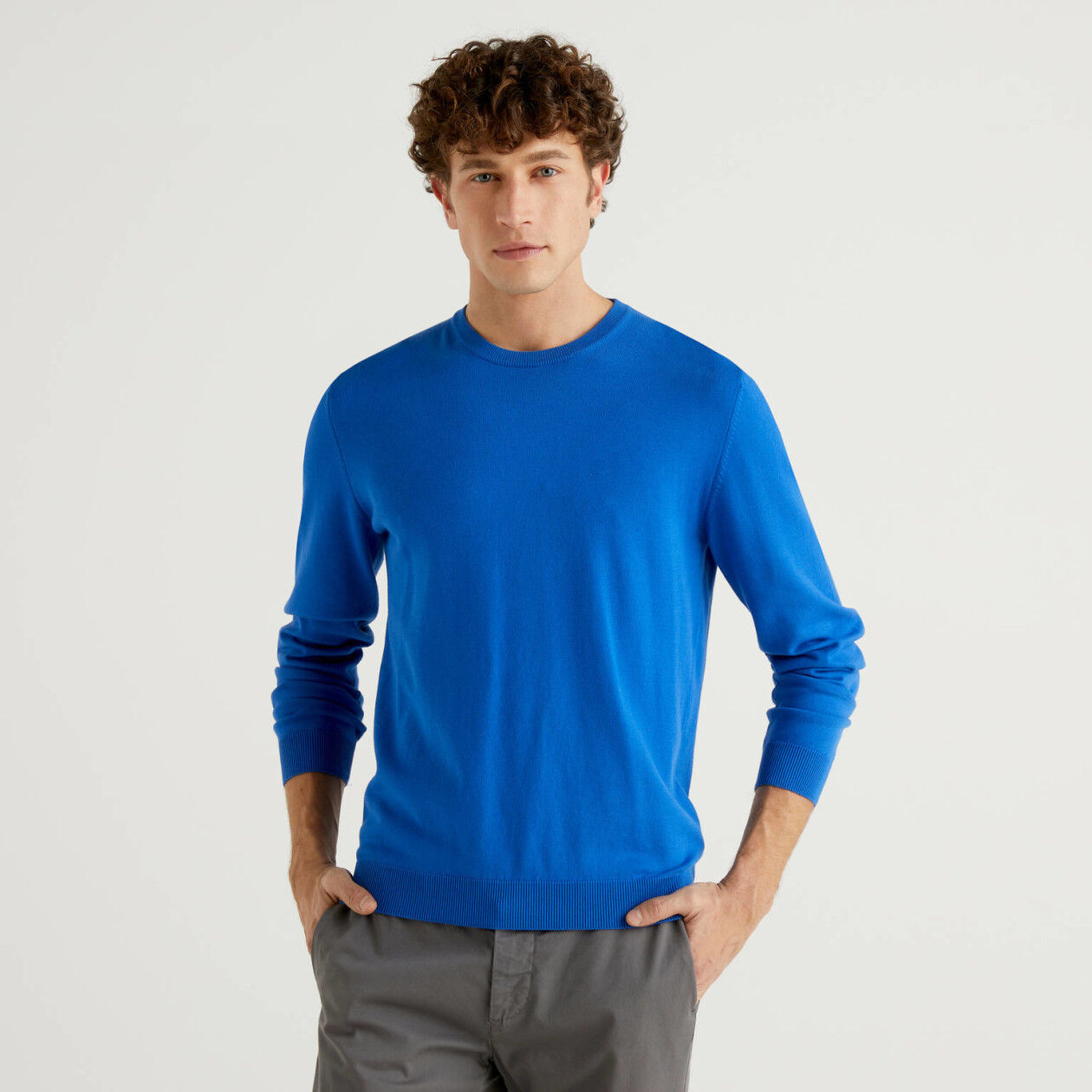 100% cotton crew neck sweater
