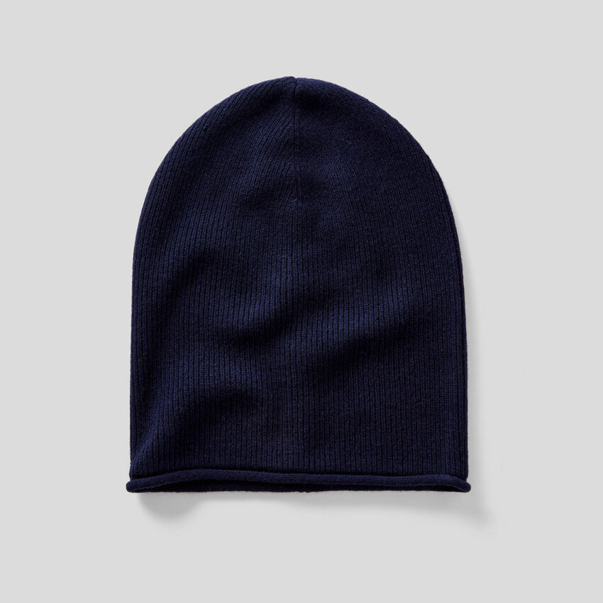 Ribbed wool blend hat