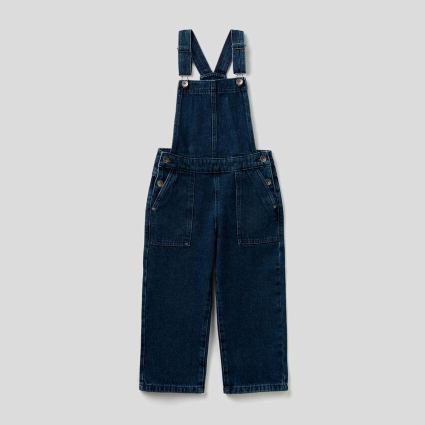 Denim overalls in pure cotton