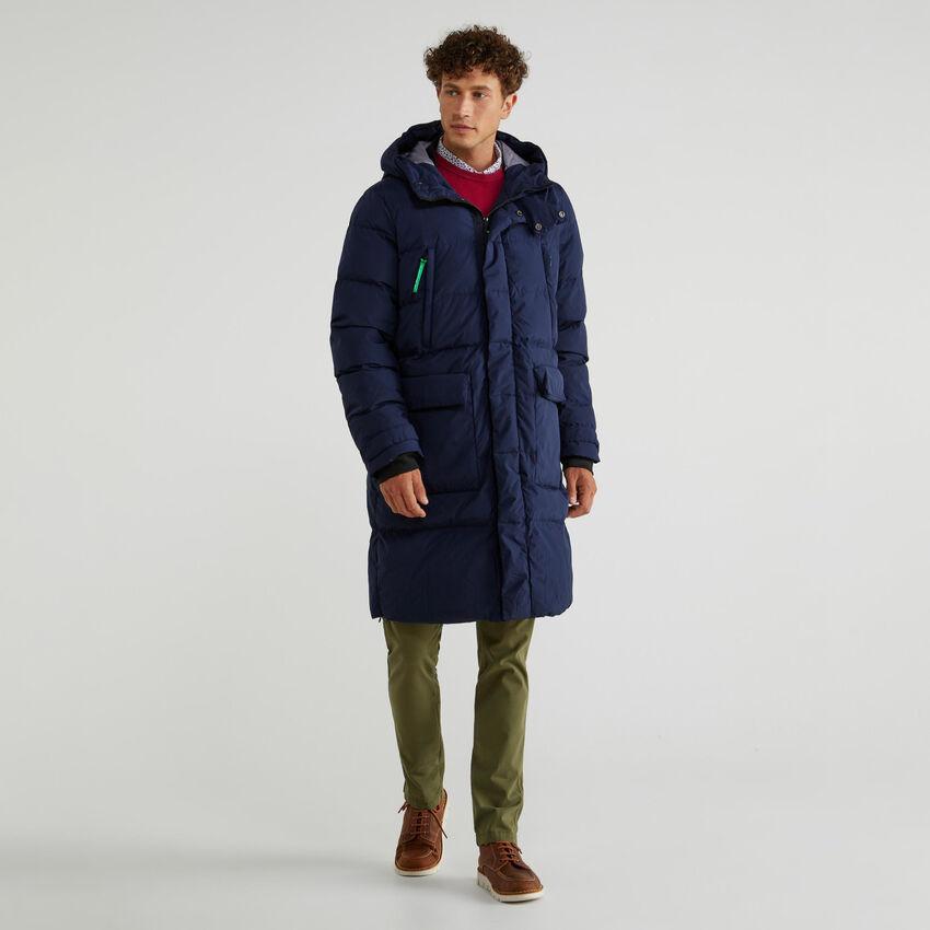 Longline puffer jacket with hood