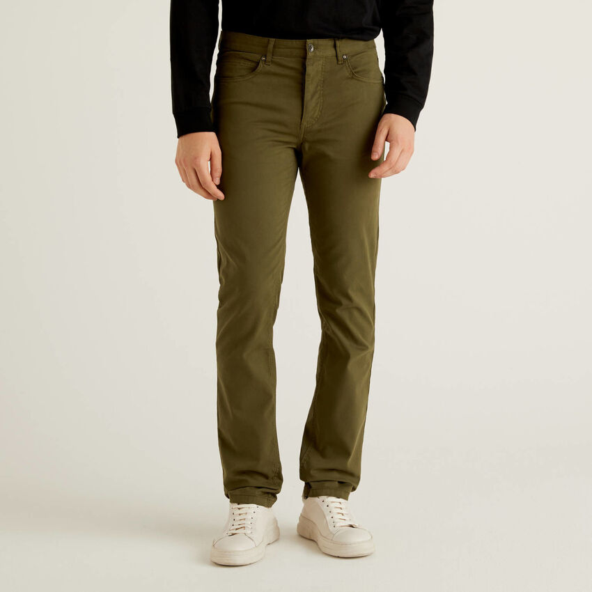 Five pocket trousers in stretch cotton