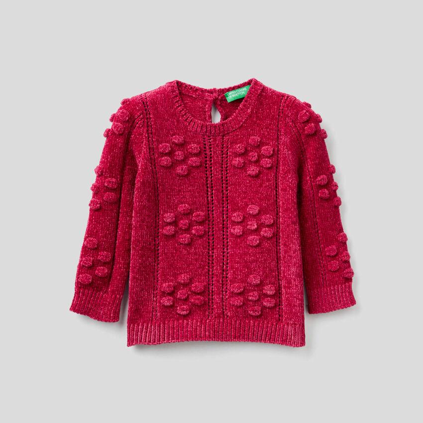 Cyclamen chenille sweater