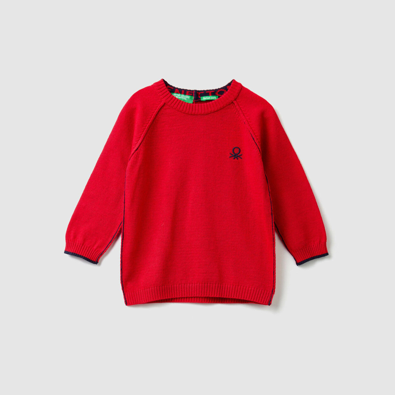 Cotton and wool crew neck sweater