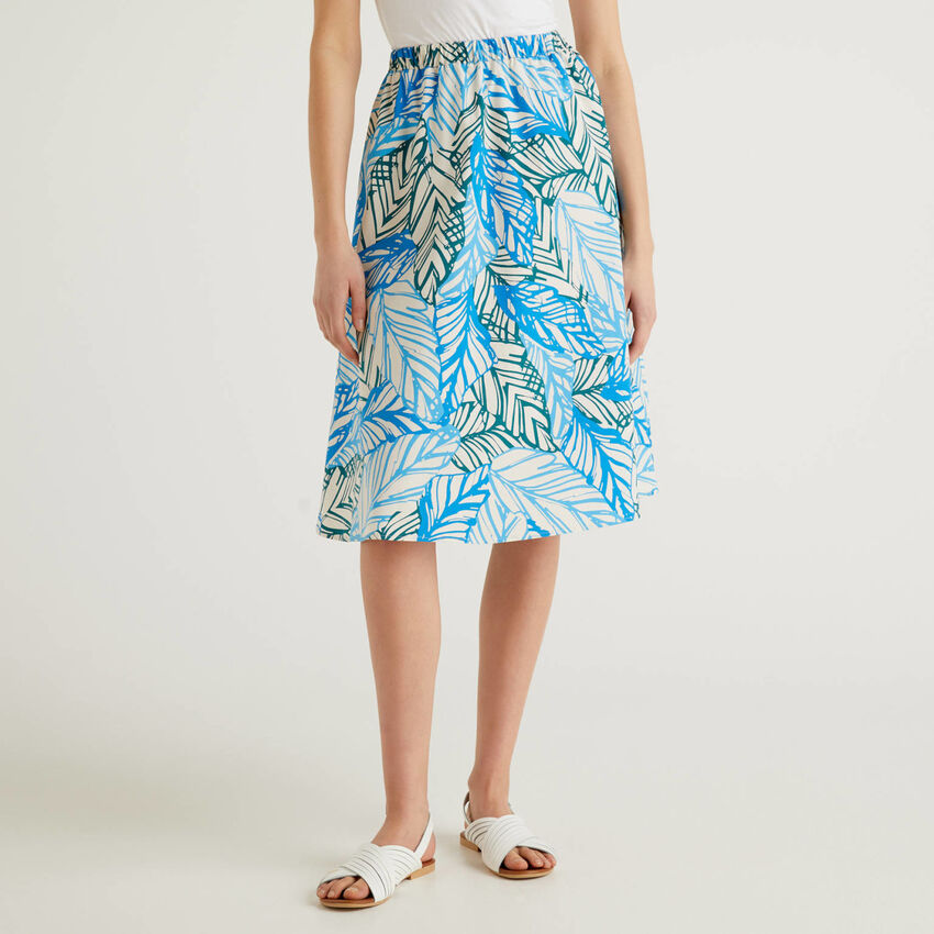 Midi skirt in printed cotton
