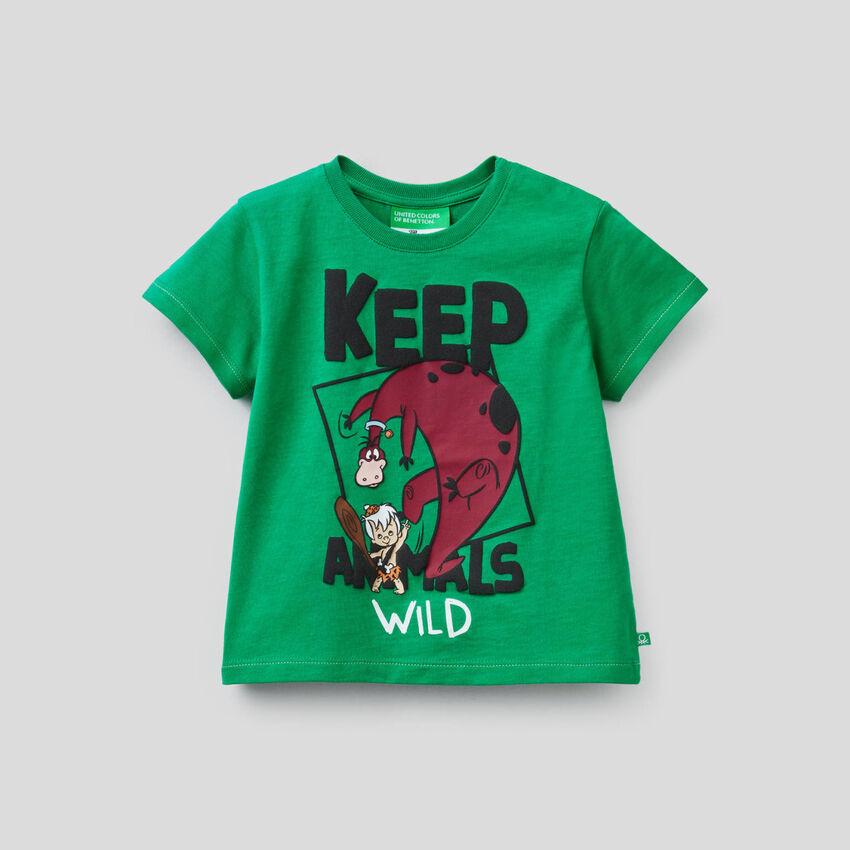 Green t-shirt with Flintstones print