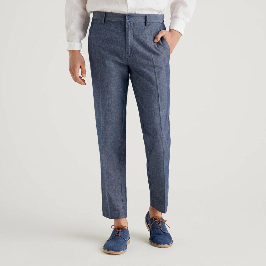 Denim trousers in linen blend cotton