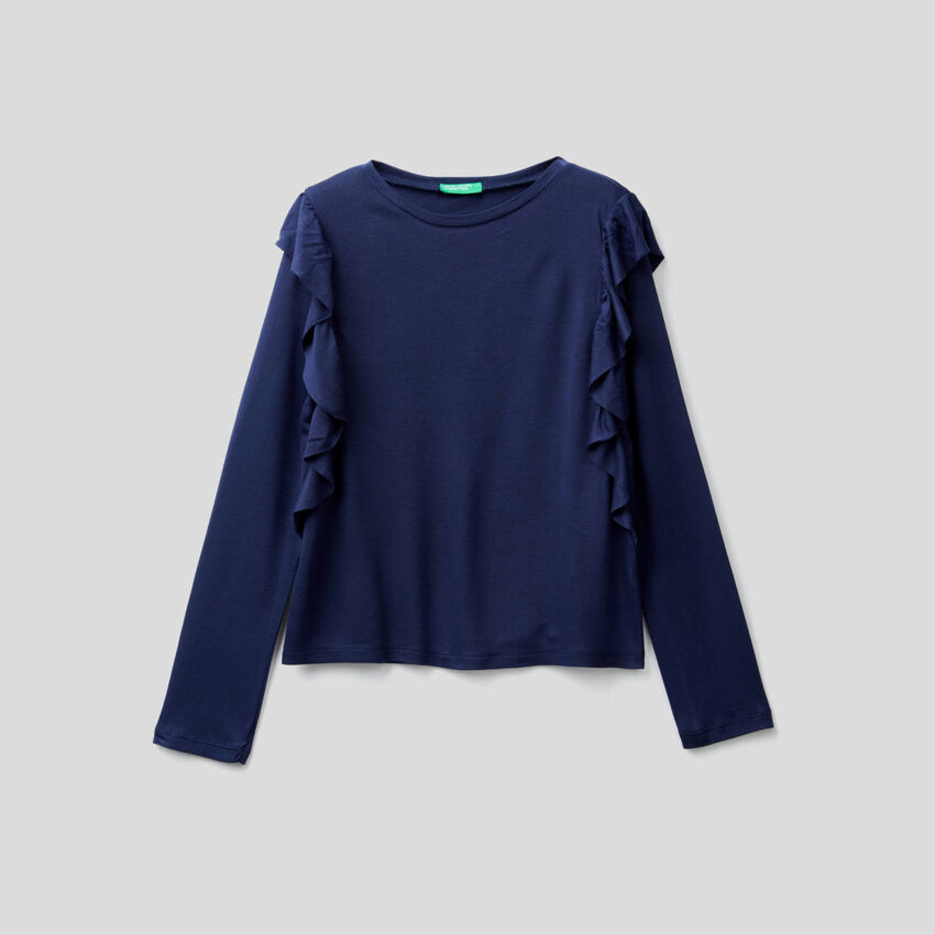 Long sleeve t-shirt with frill