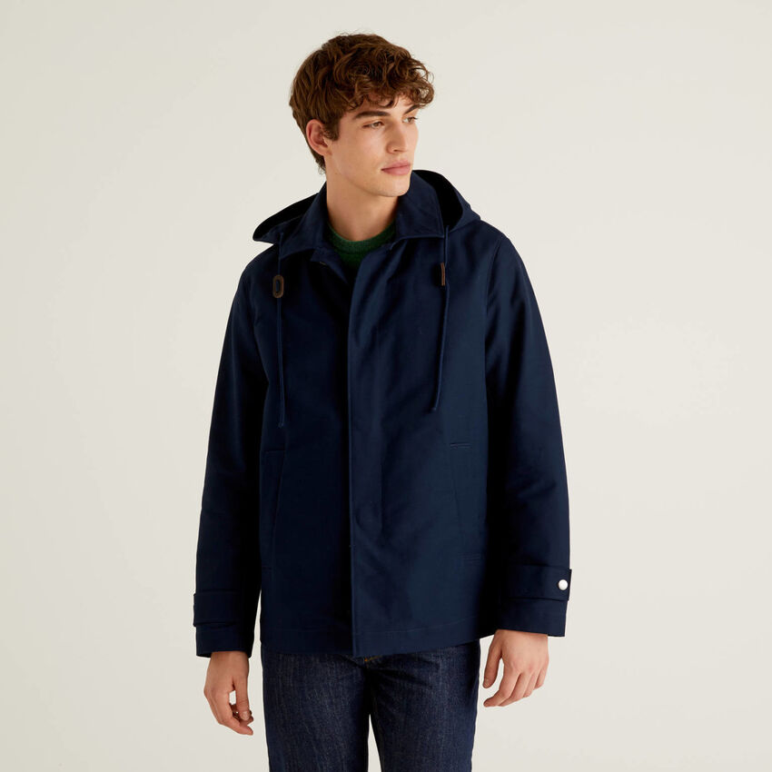 Jacket with hood in 100% cotton