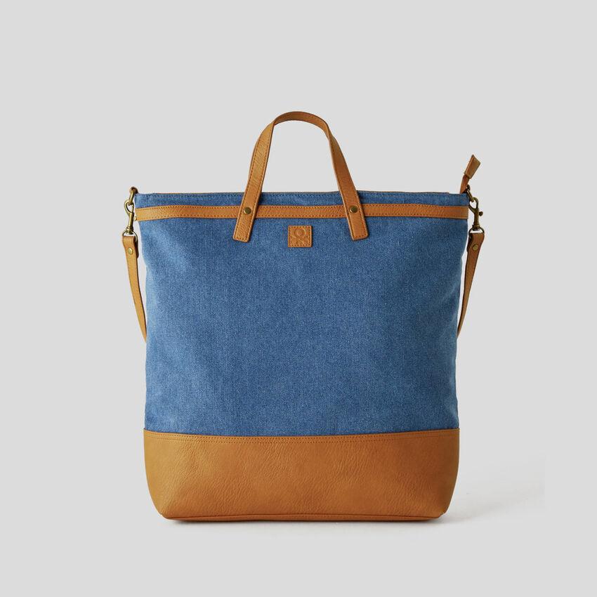 Denim look shopping bag