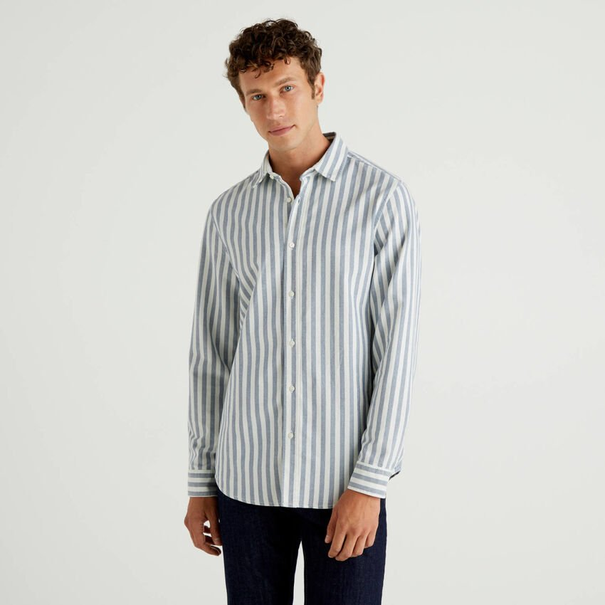 Striped shirt in 100% Oxford cotton
