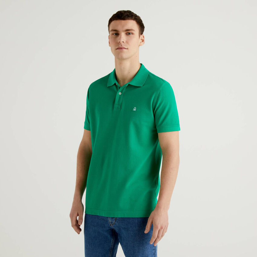 Regular fit customizable green polo