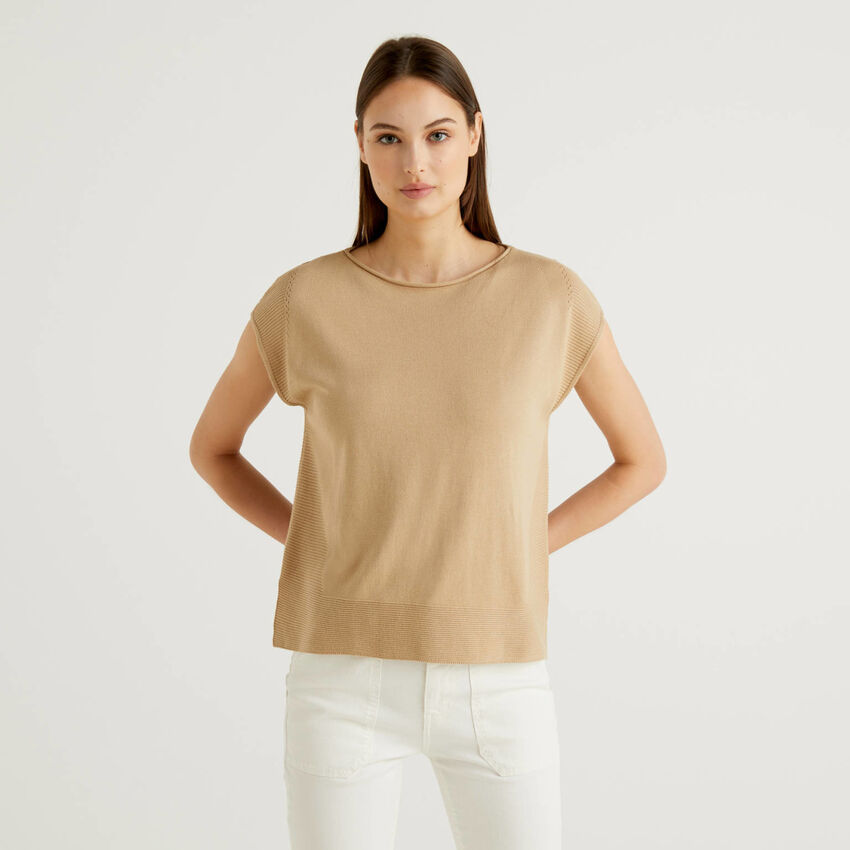 Short sleeve tricot sweater