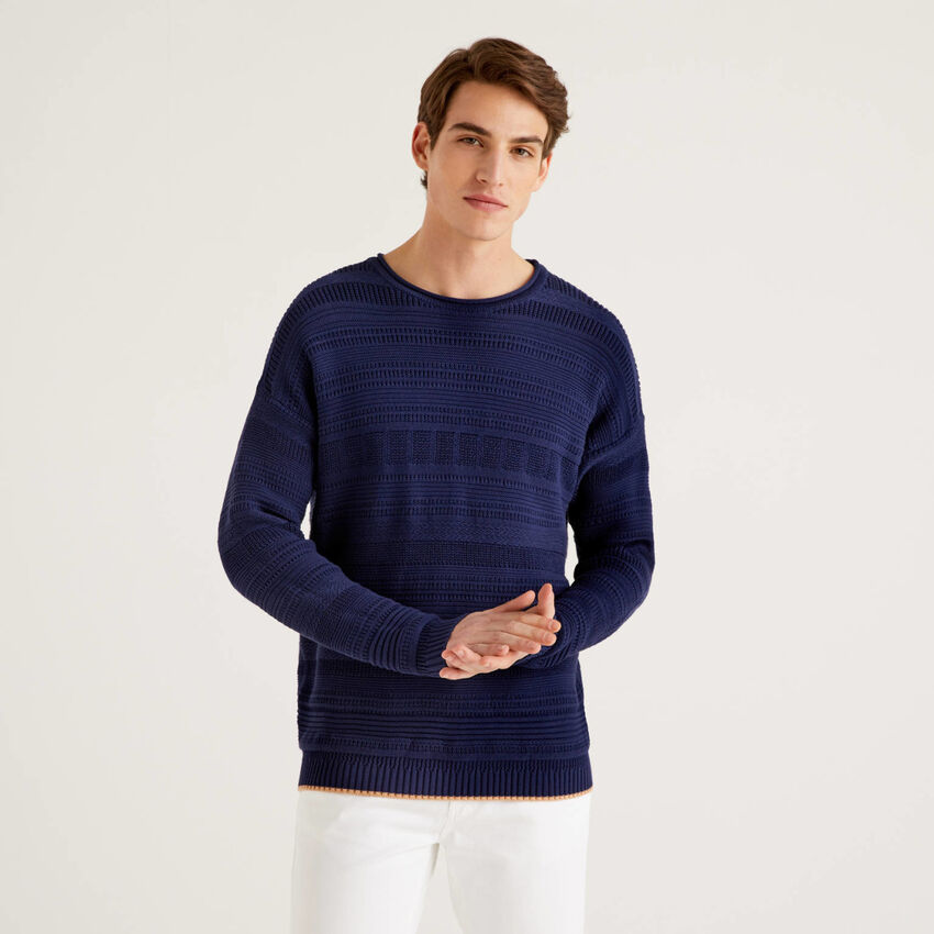 Knit sweater in 100% cotton