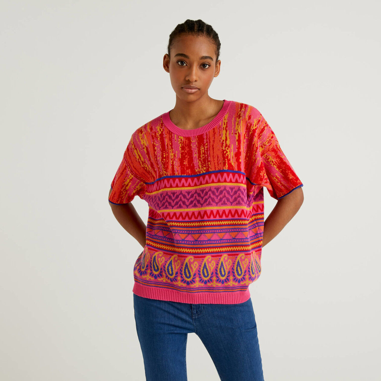 Sweater with multicolor design