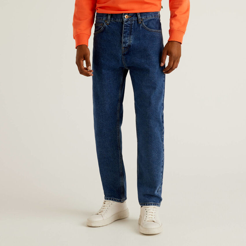 Cropped 100% cotton jeans