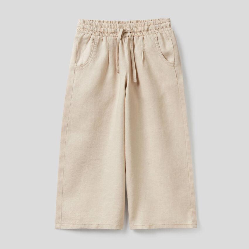 Wide leg trousers in 100% linen