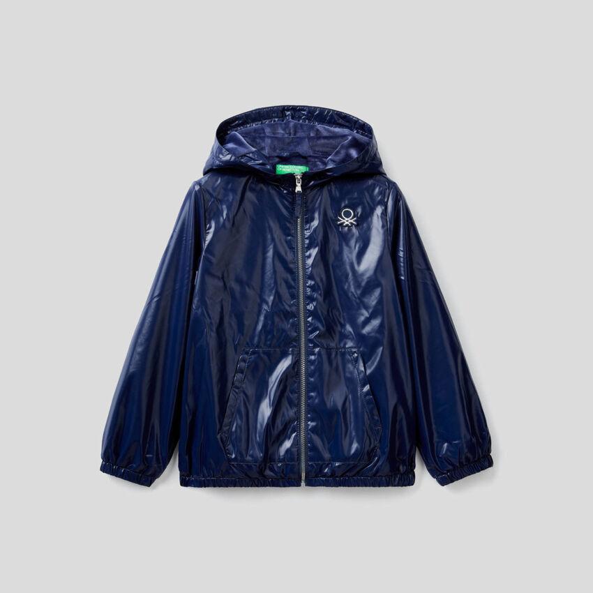 Glossy jacket with hood