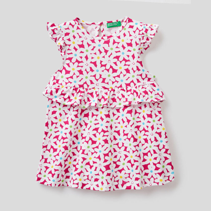 Dress in 100% cotton with frill