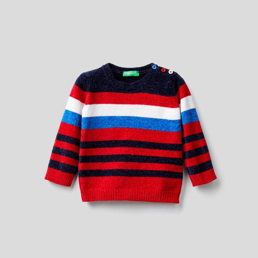 Striped chenille sweater